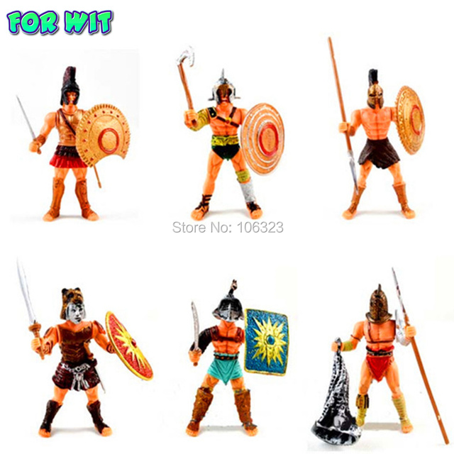 Cool Action Toy Figures, 6 pcs Gladiator of Rome with Weapon, Roma Ancient Middle Century Military Solider Model Set, Boys Gift