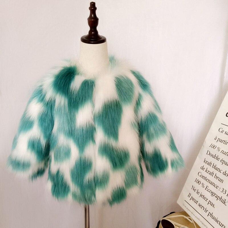 Autumn Winter Girls Fur Coat O Neck Elegant Baby Faux Fur Jacket Children Clothes Thick Warm Parka Kids Outerwear TZ374