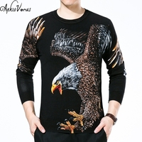 2018 Autumn winter pullover men knitted sweater brand eagle Print stylish jumpers mens sweaters pull homme marque