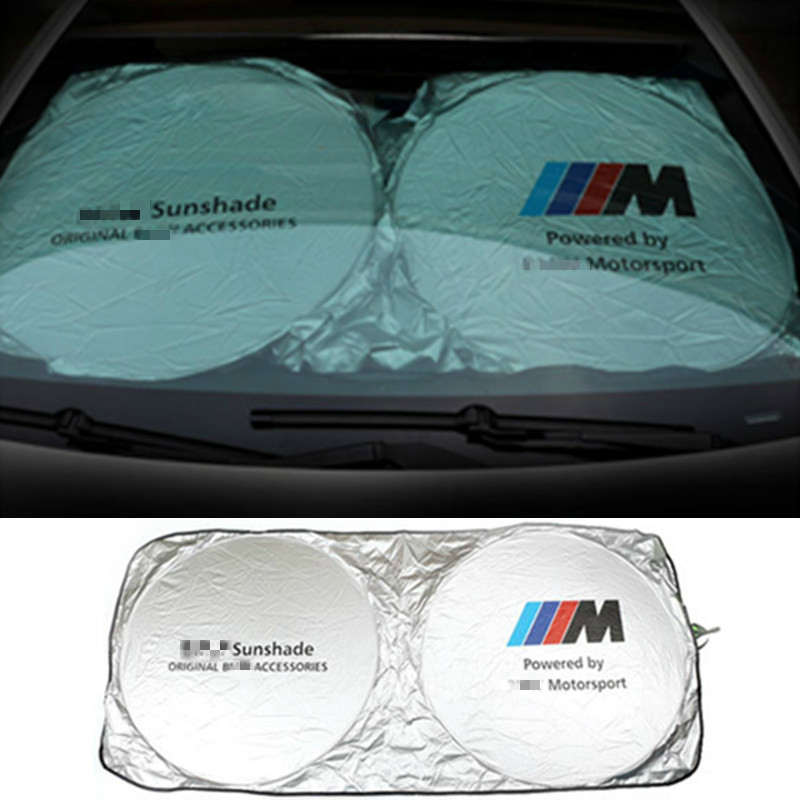 m Logo Car Front Windshield Sunshade For Audi Sline A1 A3 A5 BMW E36 E39 E46 E60 E90 E30 E34 F10 F15 F30 X1 X3 X5 X6 M M3 M5 M6 1pc car sticker for bmw motorcycle car styling stall paste m logo interior gear head stickers fit for bmw m3 m5 m6 x1 x3 x5 x6