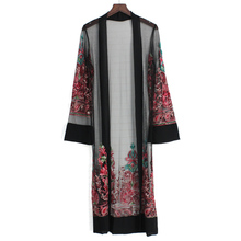 купить Summer Casual Transparent Fringed Paisley Embroidered Kimono Mesh For Women Long Sleeve Extended Vacation Blouse 2019 Clothing дешево