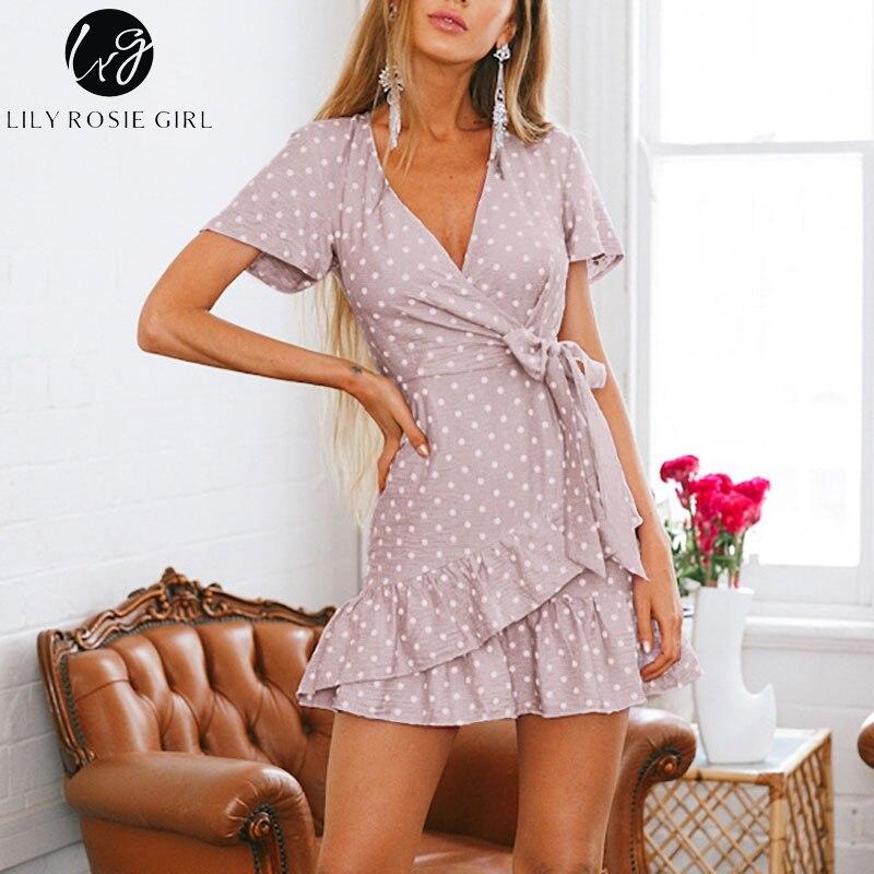 Lily Rosie Girl 2018 Mély v nyak nyaklánc nyári ruha Női alkalmi - Női ruházat