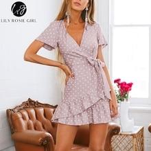 Lily Rosie κορίτσι 2018 βαθύ ντεκολτέ νυχιών νυφικό νυφικό φόρεμα γυναικών casual φόρεμα polka dot παραλία κοντό μανίκι φόρεμα κόμματος