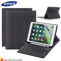 Bluetooth Wireless Keyboard Case For iPad 9.7 2018 6th With Pencil Holder Smart PU Leather Full Cover For iPad 9.7 2017 Case 5th