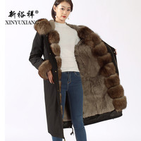 XINYUXIANG Real fox fur Parkas women long black Natural Rex rabbit fur Lining Thick fur coat Casual warm winter Jacket New 19N7
