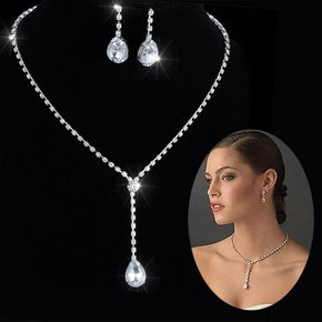 Fashion Silver Tone Crystal Tennis Choker Necklace Set Earrings Factory Price Wedding Bridal Bridesmaid African Jewelry Sets 11