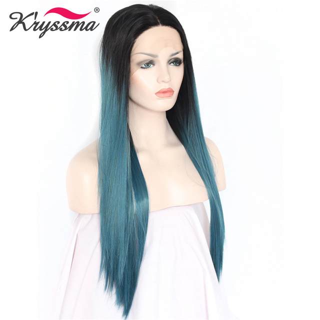 Ocean Blue Wig Ombre Long Synthetic Lace Front Wig Straight Wigs for Women  24   with Dark Roots Middle Part Two Tones Glueless c3f11615a5