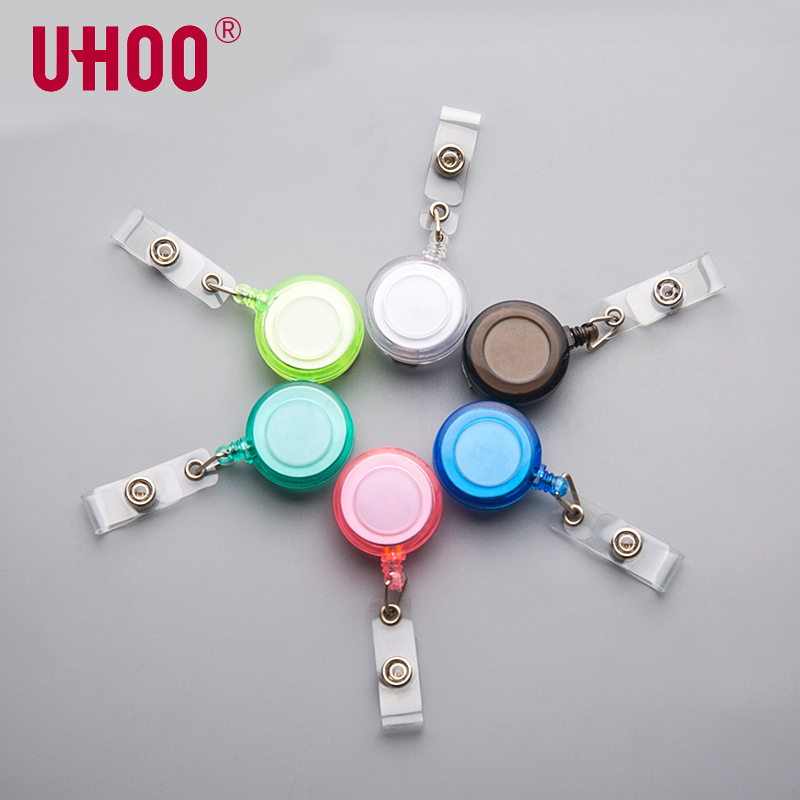 5pcs/lot UHOO 6706 Candy Color Badge Reel Name Tag Badge Holder Clips Clips For Exhibition Card Office Supplies
