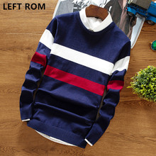 LEFT ROM 2017 fall men's senior knitwear round neck fashion sweater male cotton print stripe, casual business knitted coat S-2XL