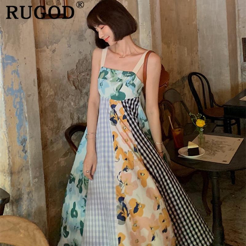 RUGOD Fashion Patchwork beach long dress women Korean chic spaghetti strap backless party dresses vestidos 2019 vintage