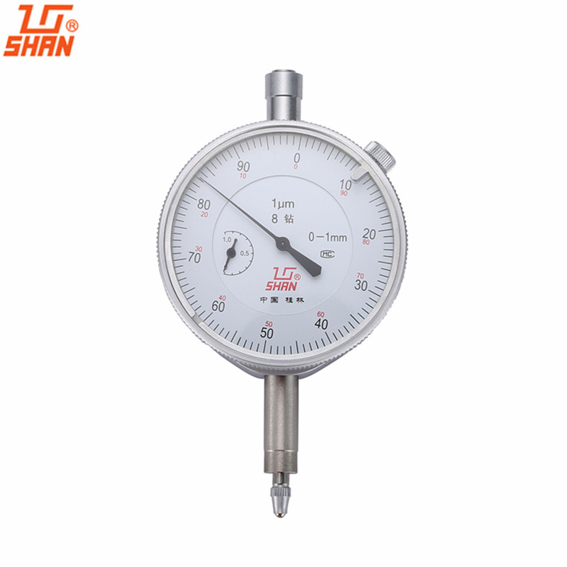 SHAN Dial Indicator 0-1mm/0.001mm Dial Gauge Dial Test Indicators Shockproof Micrometer Caliper Measure Tools guanglu dial indicator 0 0 8mm 0 01mm dial test indicator dial test gauge measurement instrument measure tools