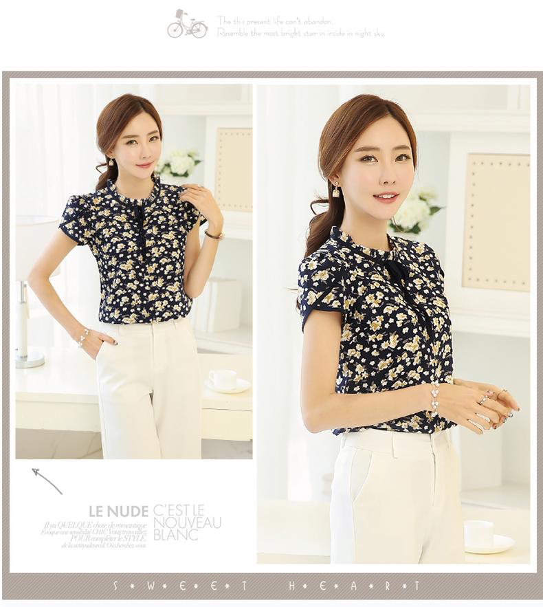 HTB150CrPVXXXXataXXXq6xXFXXXY - Summer Floral Print Chiffon Blouse Ruffled Collar Bow Neck Shirt