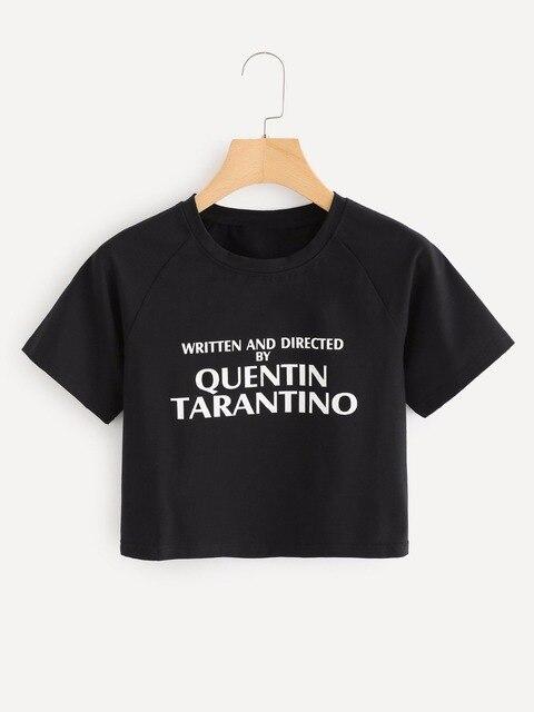 2cfaa68edd816 WRITTEN AND DIRECTED BY QUENTIN TARANTINO CROP TOPS slogan short tees 90s  women fashion cotton aesthetic