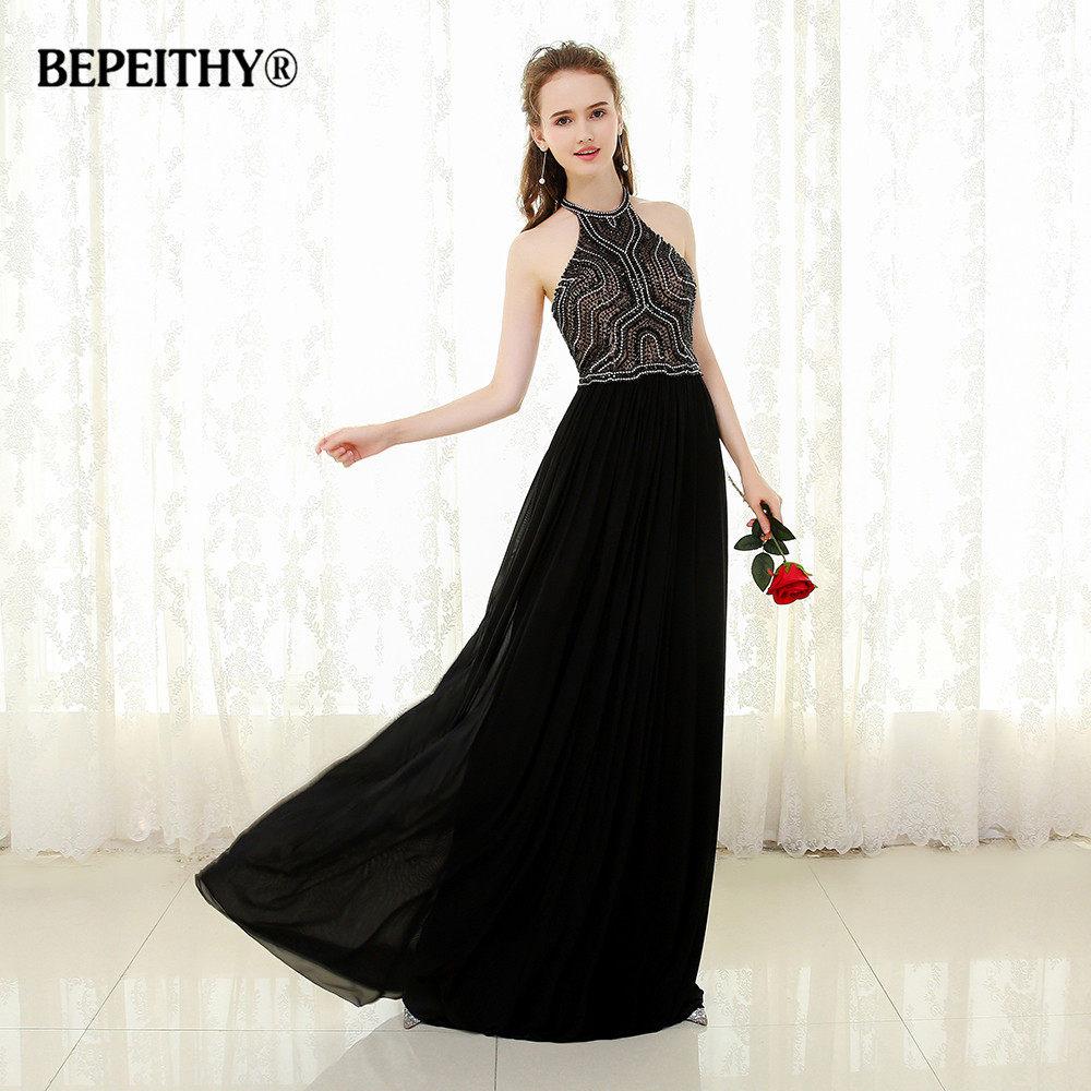 BEPEITHY Sexy Halter Long Prom Dress Beaded Top Vestido De Festa Black  Chiffon Long Evening Dress 648953264f12