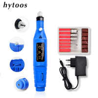 HYTOOS 1Set Electric Nail Drill Machine Pro Manicure Machine Pen 6 Nail Drill Bits Mills Kit Pedicure Nail File Nail Tools
