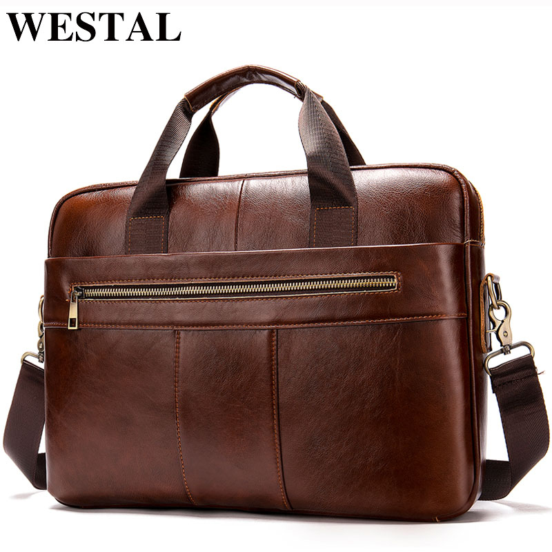 WESTAL men's briefcase bag men's genuine leather laptop bag business tote for document office portable laptop shoulder bag  8523(China)