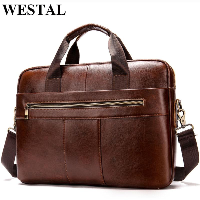 Мужской портфель WESTAL, мужская сумка из натуральной кожи для ноутбука, деловая сумка-тоут для документов, Офисная Портативная сумка на плечо для ноутбука 8523