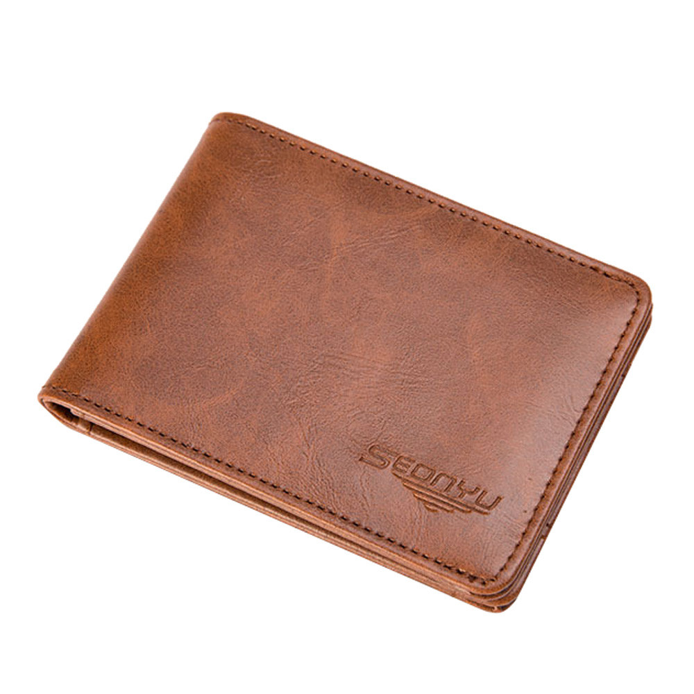 Men Leather Solid Short Wallet Brand Bifold Business ID Credit Card Holder Mini Coin Purse Pockets bozuk para kesesi
