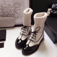 New Woman Boots Round Toe Mid Calf Boots Black White Brand Star Runway Shoes Sock Boots Knitting Short Booties Luxury Chic Shoes