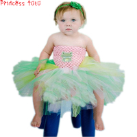 Pink Frog Princess Tutu Dress Birthday Outfit Halloween Costume Little Girl First Birthday Photo Props Baby Girl Christmas Dress