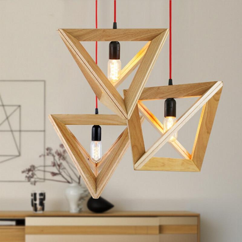 ᐂVintage hout hanglamp indoor LED moderne lamp Nordic restaurant ...