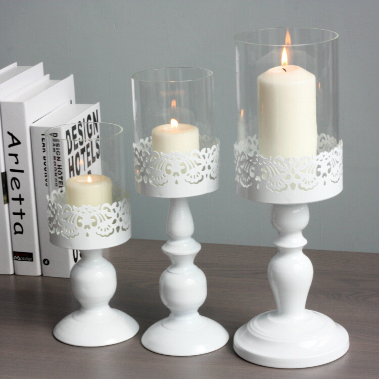 C Iron crafts minimalist wedding table glass candlestick candlestick Home Decoration Candle wholesale