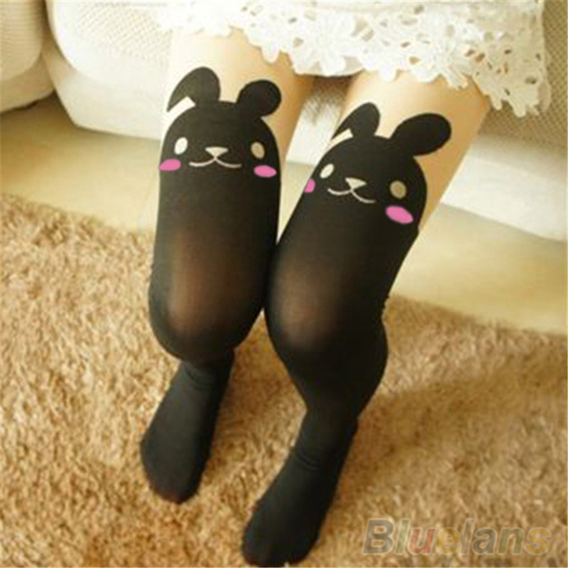 Bluelans Japan Cute Sexy Rabbit Animal Print Over Knee BUNNY TAIL TATTOO TIGHTS PANTYHOSE ...