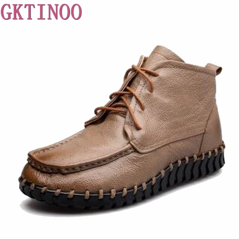 GKTINOO 2018 Vintage Style Genuine Leather Women Boots Flat Booties Soft Cowhide Womens Shoes Ankle Boots zapatos mujerGKTINOO 2018 Vintage Style Genuine Leather Women Boots Flat Booties Soft Cowhide Womens Shoes Ankle Boots zapatos mujer