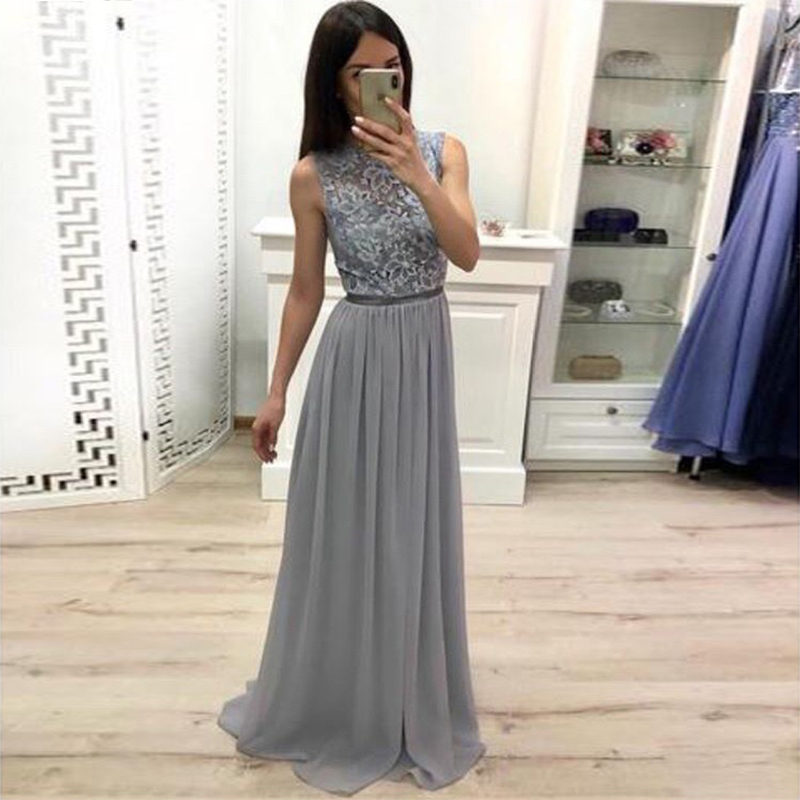 Long Sheath   Prom     Dresses   O-neck Sleeveless Lace Top Chiffon Skirt Women Formal Party   Dresses   Gray Color Special Occasion Gowns