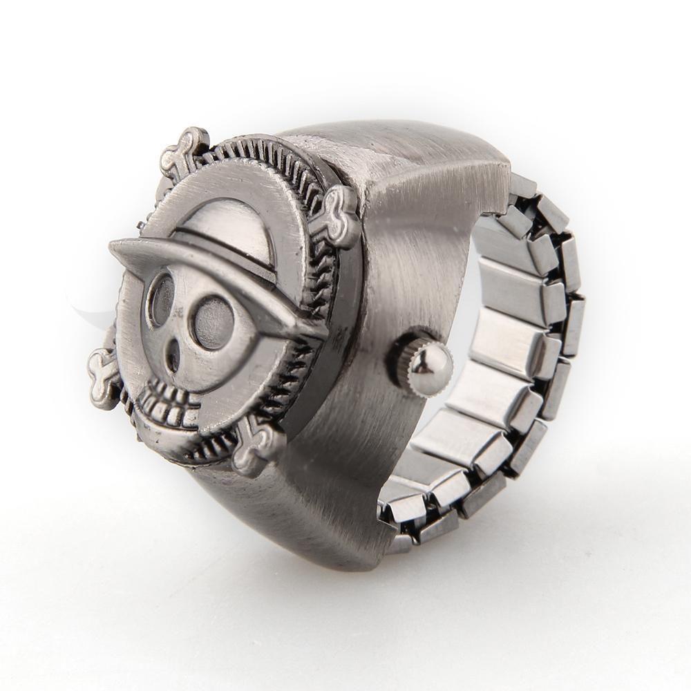 YCYS-Vintage Cute Skull Pirate Metal Pocket Finger Ring Watch 0.83