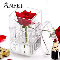 ANFEI Transparent Make Up Organizer Acrylic Material Cosmetic Case 4 Differents Style Rose Flower Box With