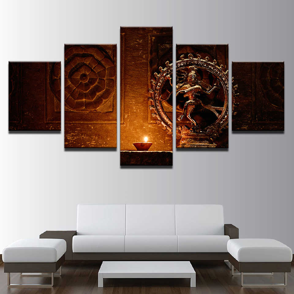 Painting Poster Modern Wall Art Frame Prints Type 5 Panel Shiva Nataraja Statue India God Vintage Picture Home Decor Living Room