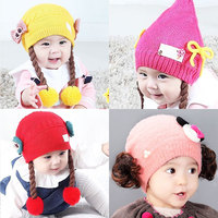 12 Colors New Fashion Soft Cute Princess Baby Girls Spring Autumn Winter Wigs Bow Knitting Beanie Hat Caps Headwear Accessories