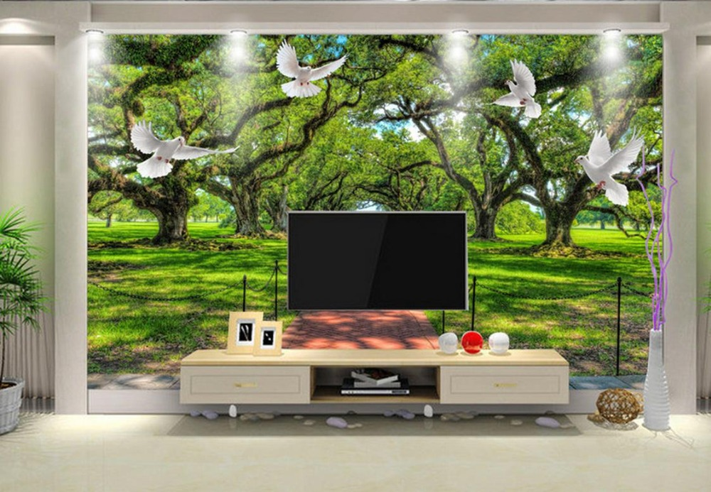 Papel Pintado Personalizado Para Paredes 3 D Foto Mural Verde