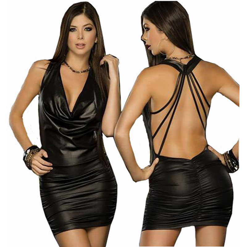 Buy Women Langerie Sexy Erotic Lingerie Hot Black Backless Latex Leather Porn Sexy Erotic Costumes Night Clubwear Pole Dance Dress