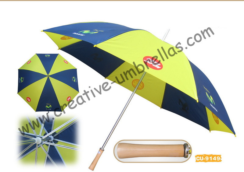 Free shipping by sea,14mm metal shaft and double fluted ribs,manual golf umbrella,anti-rust,advertising gift promotion umbrella
