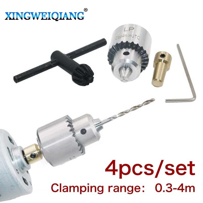 Micro Motor Drill Chucks Clamping 0.3-4mm Jt0 Taper Mounted Drill Chuck With Chuck Key 3.17mm Brass Mini Electric Motor Shaft