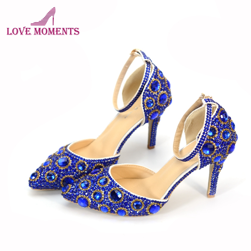2018 New Designer Royal Blue and Gold Rhinestone Mixed Wedding Shoes Pointed Toe Bride Shoes with Ankle Straps 3 Inches Pumps the new 2017 diamond red bride wedding shoes pointed the bride wedding toast with velvet like shoes fashion