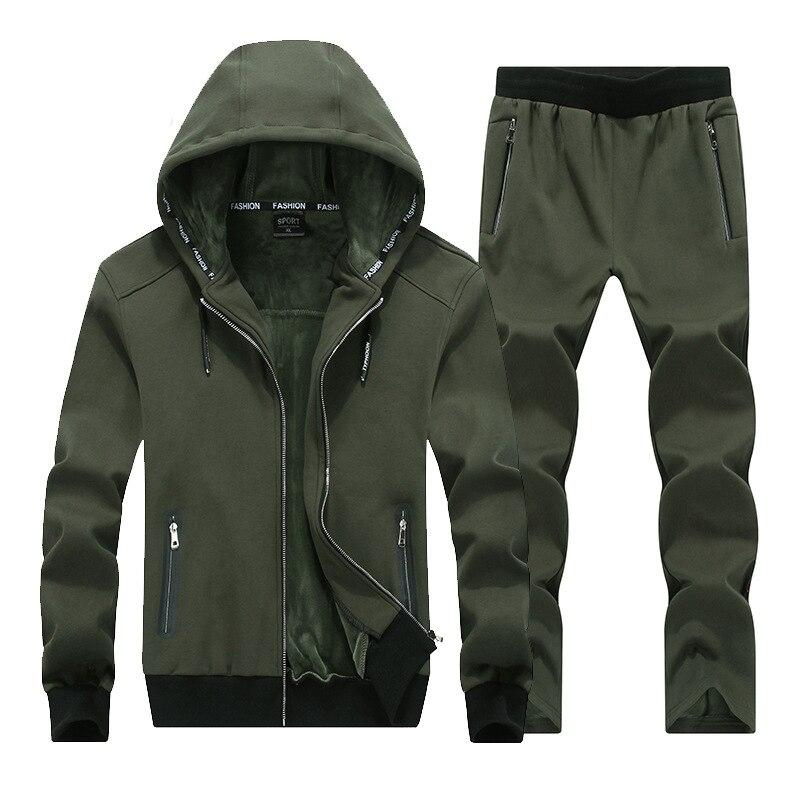 2019 mode hiver hommes sport costume Hoodies veste + pantalon épais survêtement deux pièces ensemble survêtement pour hommes vêtements 8XL grande taille