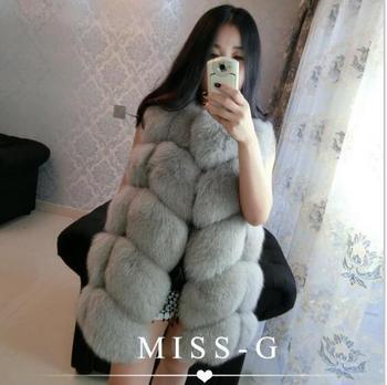 New design 2017 Winter Pink Fashion Women Import Coat Fur Vest Faux Fur Coat Fox Fur Long Vest Plus Size:S-4XL