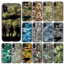 Ruicaica Camouflage Pattern Camo military Army Silicone black Phone Case for iPhone 6S 6plus 7 7plus 8 8Plus X Xs MAX 5 5S XR