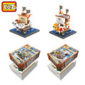 LOZ Anime One Piece Thousand Sunny Going Merry Mini Model Building Block Diamond Block Luffy Franky Usopp Brook Tony