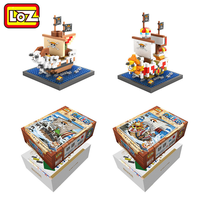 LOZ One Piece Thousand Sunny Going Merry Pirate oat Mini Model Building Block Diamond Block Luffy Franky Usopp Brook Tony 12 style one piece diamond building blocks going merry thousand sunny nine snakes submarine model toys diy mini bricks gifts