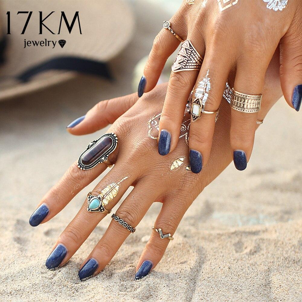 17KM Boho Smycken Sten Midi Ring Sets för Kvinnor Anel Vintage - Märkessmycken - Foto 3