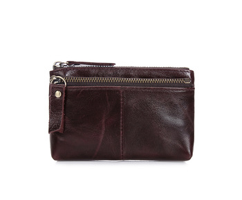 Genuine Leather Double Zipper Men Wallets Vintage Coin Purse Designer Man Monederos With Key Chain Credit Card bag For Coins