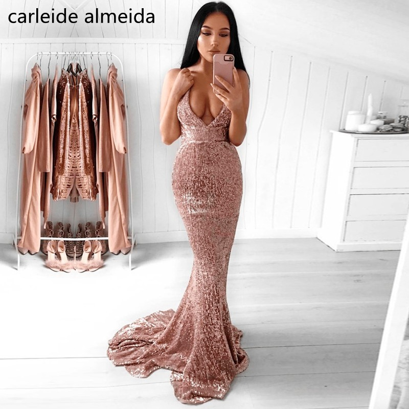 Vestidos de fiesta V-Neck Sequined Lace Mermaid   Prom     Dresses   Backless Sexy   Prom   Party   Dress   Sweep Train Gala   Dress