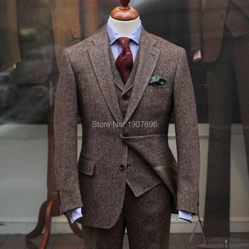 Woolen Wedding Men Suits For Groom Tuxedos Notched Lapel Three Piece New Design Jacket Pants Vest Male Blazer
