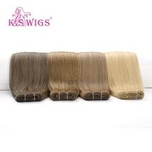 K.S WIGS extensiones de cabello humano liso Remy, mechones de cabello humano postizo de doble estiramiento, 24 , 100g/ud.