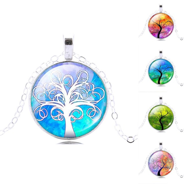 Harajuku Style Illusion Tree of Life Glass Cabochon Pattern Pendant Necklace with Silver Plated Necklace Chain for Women
