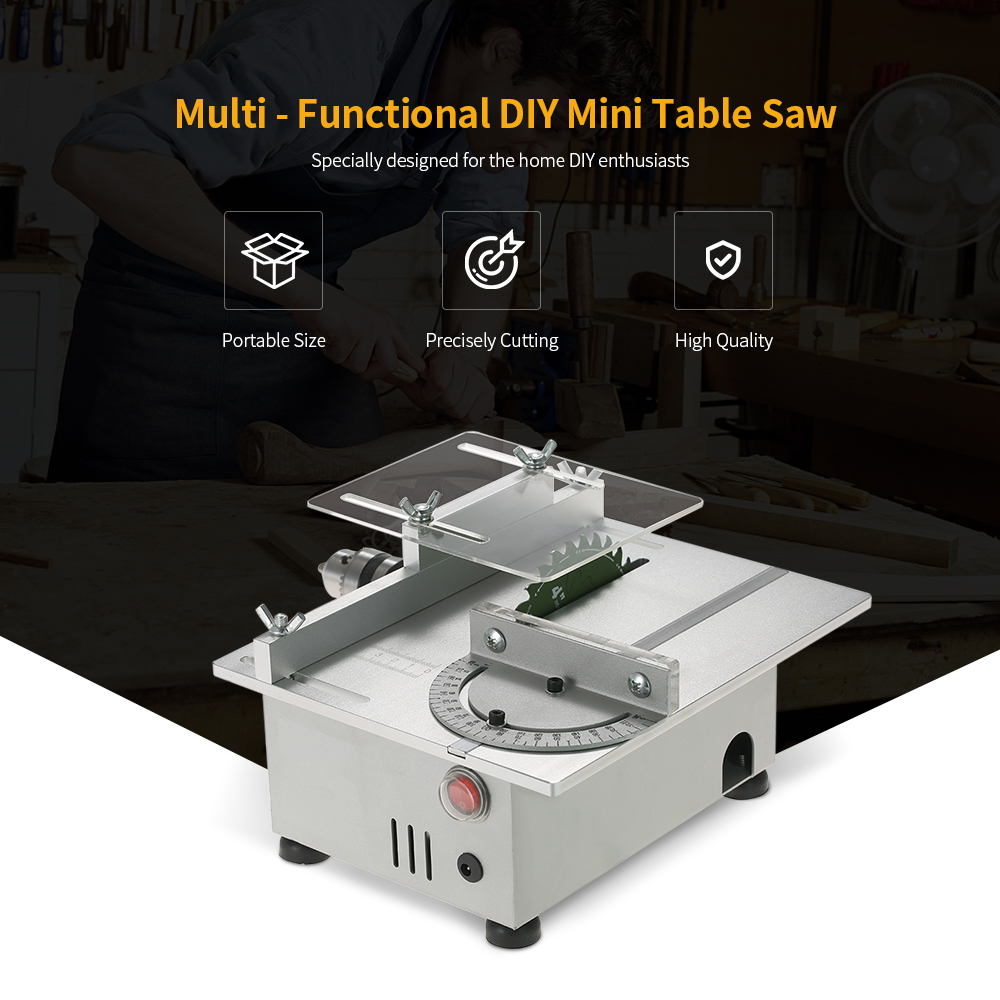 100W Mini Table Saw Aluminum Miniature DIY Multi-function Woodworking Bench Saw Cutter Carpentry Chainsaw Cutting Machine mini multi function table saw bench drill grinding machine with 100w high power cutting machine tool accessories